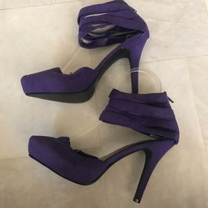 7 Wild Diva Suede Ankle Wrap closed toe heels